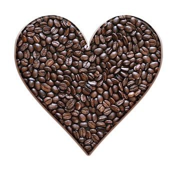 Coffee Beans, Heart, Coffee, Brown, Beans, Roasted