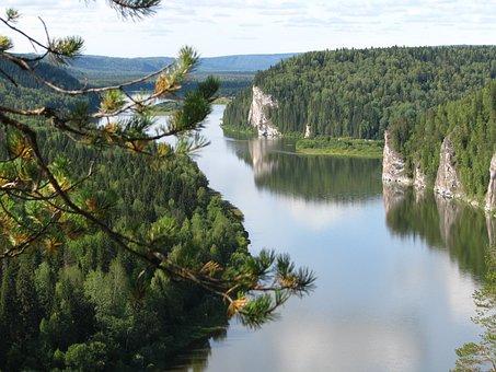 The Vishera River, Height, Rocks, Forest, Travel