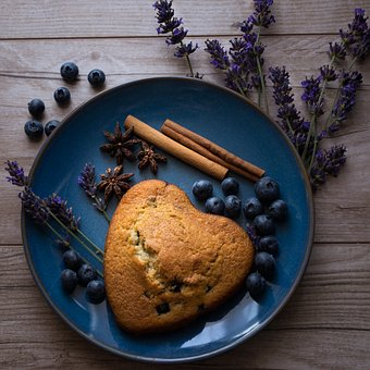 Heart, Cake, Blueberries, Lavender, Spices