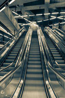 Metro, Escalator, Lights, Black And White