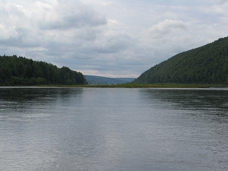 The Vishera River, Forest, Beach, Nature, Sky