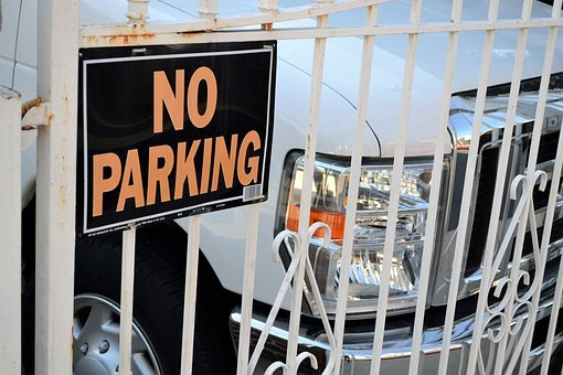 No Parking Sign, Parked Suv, Sports Utility Vehicle