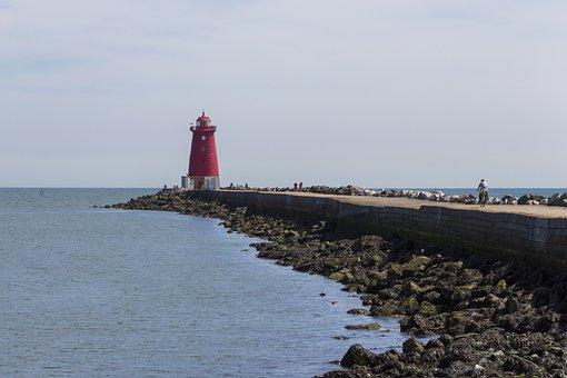 Lighthouse, Sea, Dublin, Water, Sky, Blue, Port