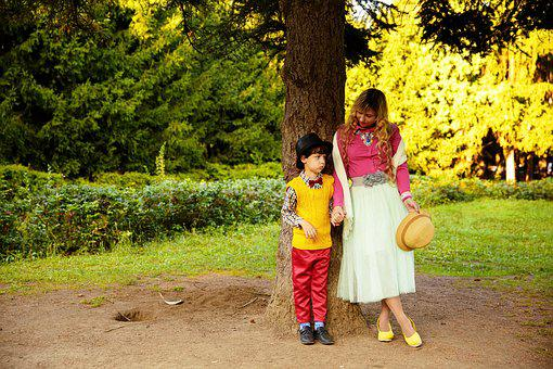 Forest, Tree, Mom, Son, Boy, Retro, Vintage, Park
