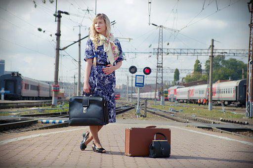 Station, Train, The Ussr, Vintage, Retro, Suitcase