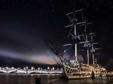 Ship, Sky, Star, Water, River, Night, Bridge, Light