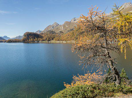 Lake Sils, Switzerland, Graubünden, Sils, Distant View