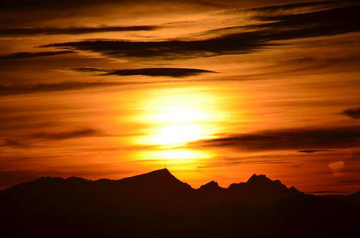 Sun, Sunset, Abendstimmung, Sky, Clouds, Evening Sky