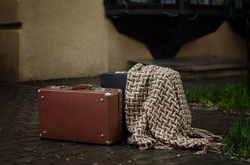 Suitcase, Rain, Street, Wet, Weather