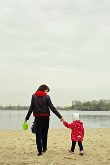 Mom And Daughter, Quay, Autumn, Sea, Moscow, Stroll