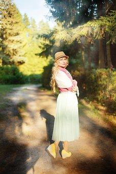 Woman, Sun, Park, Nature, Vintage, Retro, Model