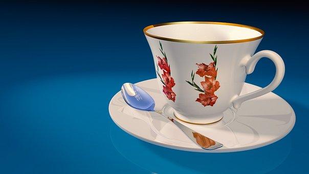 Tea Cup, Teaspoon, Saucer, 3d Model