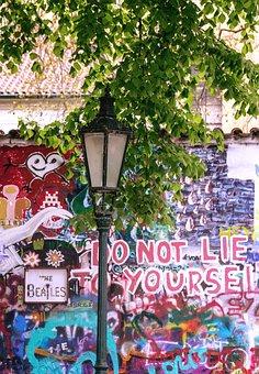 Prague, Wall, John Lennon Wall, Lamp, Painting, City
