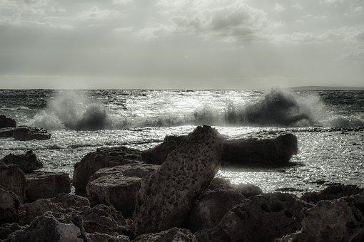 Wave, Crushing, Water, Sea, Rocky, Splash, Spray, Foam
