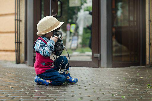 Camera, Boy, Hat, Kids, Baby, Kid, Street, City, Child