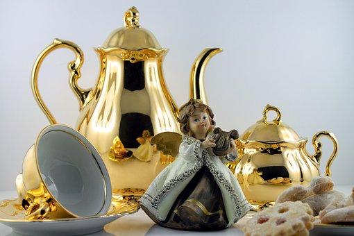 Angel, Gold, Figure, Advent, Christmas, Golden