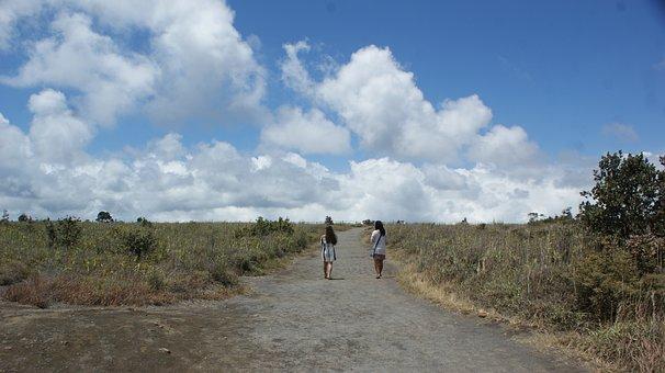 Travel, Volcano, Girls, Friends, Nature, Landscape