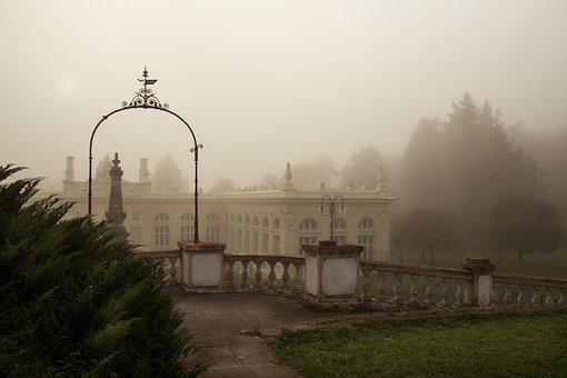 Park, Spa, History, Morning, Fog, Autumn, Indian Summer