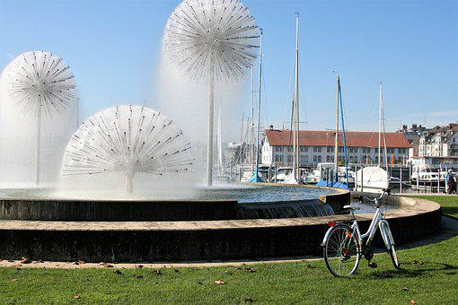 Fountain, Romanshorn, Bike, Morning, Holiday, Relax
