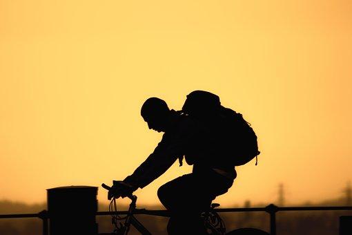 Bike, Tour, Travel, More, Leisure, Silhouette, Sunset