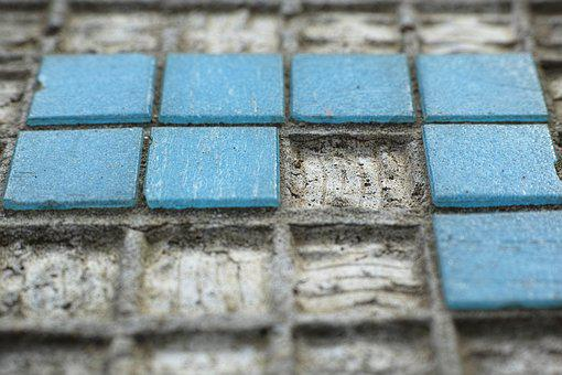 Tile, Blue, Pattern, Ground, Cement, Stone, Loneliness