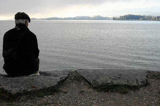 Older, Male, Morning, Lake, Haze, Bodensee, Man