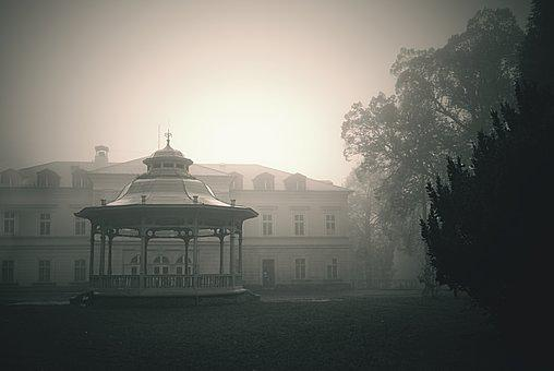 Spa, Park, Summer-house, Fog, Morning, Autumn