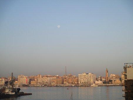 Sea, Suez Canal, Moon, Boats, Sky, Port, Ship, Daytime