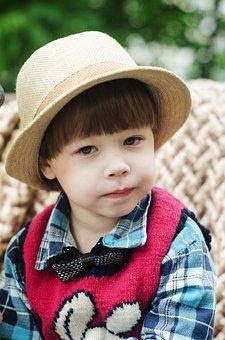 Portrait, Baby, Boy, Hat, Shirt, Vest, Plaid, Bench