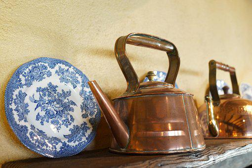 Bronze Kettle, Display Plate, Cafe, Old Style, Retro