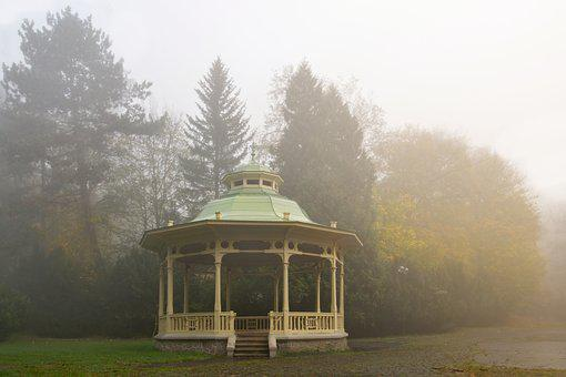 Summer-house, Park, Spa, Autumn, Fog, Indian Summer