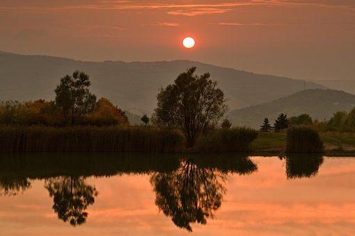 Sunset, Autumn, Evening, Landscape, Water, Sun, Trees