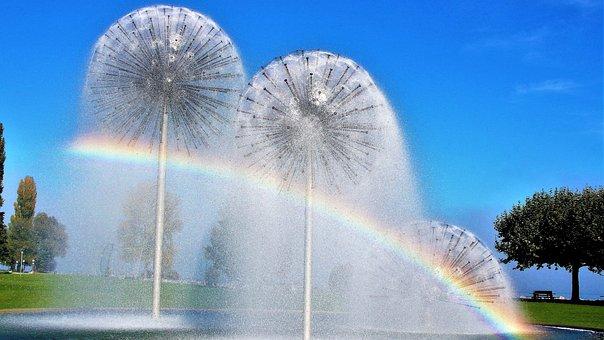 Sunny Day, Fountain, Screen, Sky, Romanshorn, Water