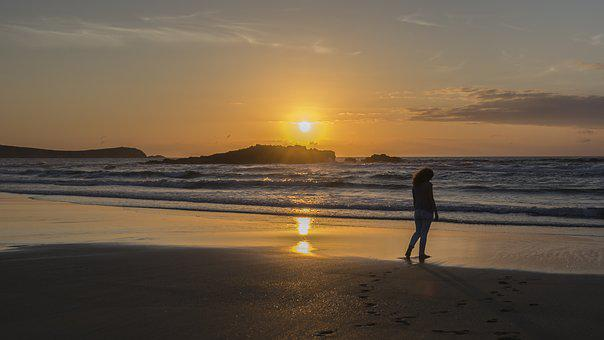 Woman, Women, Sun, Beach, Sunset, Galicia, It Is, Sea