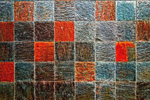 Wall, Stone Wall, Tiles, Squares, Colour
