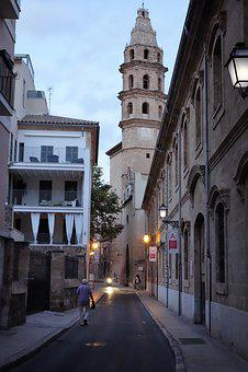 Alley, Palma, Twilight, Streetlights, Spain, Lonely Man