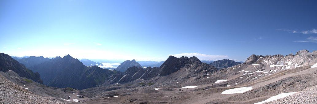 Alpine Panorama, Zugspitze, Blue, Alpine, Sky, Nature