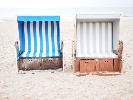 Clubs, Rest, Sit, Relax, Blue, White, Beach, Idyllic