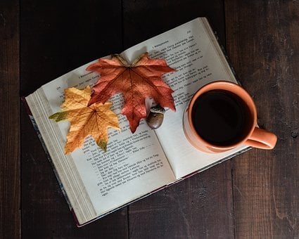 Open Book, Book, Mug, From Above, Coffee, Leaves