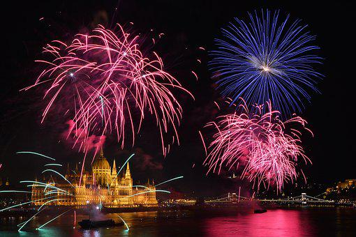 Fireworks, Parliament, Budapest, Holiday, Danube