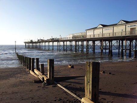 Pier, Teignmouth, Sea, Beach, Devon, Town, Seaside