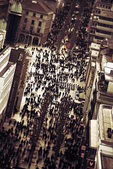 Crowd, City, Human, Road, Stuttgart, Germany, Miniature