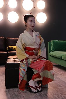 Girl, Kimono, Geisha, Model, Makeup, Hairstyle, Geta