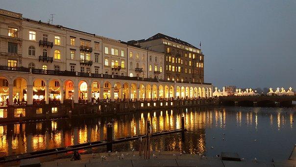 Alster Arcades, Hamburg, Jungfernstieg, Alster