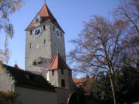 Regensburg, City, Old Town, Bavaria, Sky, Trees