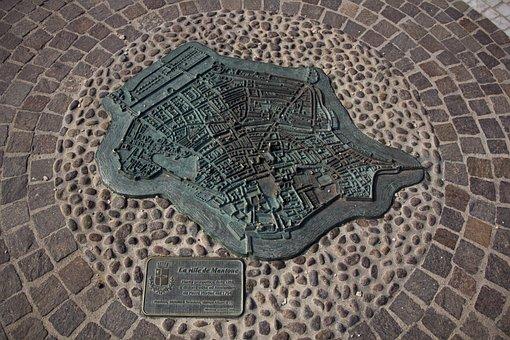 Italy, La Ville De Mantue, Bronze, Note, Map