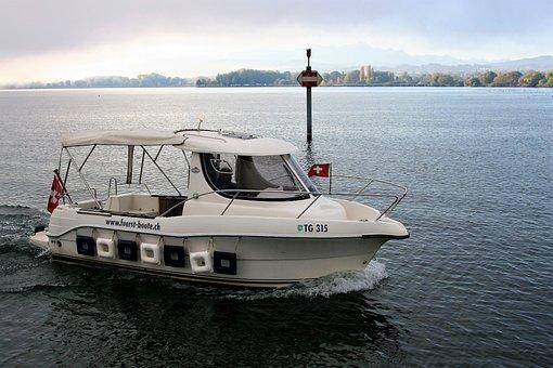 Motorboat, Speed, Sailing, Relax, Lake, Morning