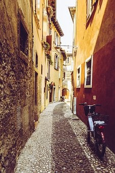 Italy, Alley, 70 Years, Moped, Roller, Old Town