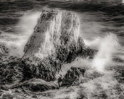 Rock, Wave, Smashing, Crushing, Foam, Spray, Nature