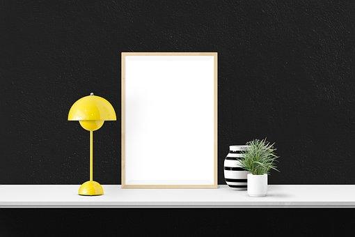 Poster, Mockup, Decor, Desk, Interior, Presentation